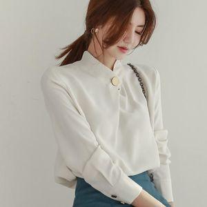 Women High quality Chiffon Blouse Stand Collar Long Sleeve Wear to Work Office Lady Shirt Business Women Tops