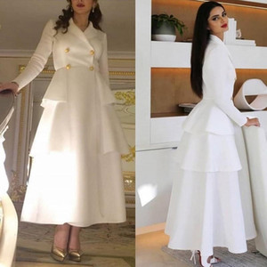 Princess White Outfit Prom Dresses Cheap Long Sleeve Celebrity Formal Evening Dress Ankle Length A Line Women Party Wear Skirt
