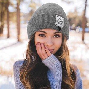 Beanie / Kafatası Kapaklar 2021 Yıl Aşk Harfleri İşlemeli Kış Şapka Kadınlar Kadın Cap Kız Sıcak Örme Beanie Şapka Bonnet Czapka Zimowa