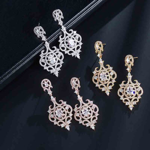Vintage Big Cubic Zirconia Chandelier Large Drop Crystal with Tiny CZ Luxury Bridal Wedding Dangling Earring
