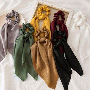 Vintage Women Satin Scrunchie Bow Streamers Hair Scrunchies Ribbon Hair Ties Horsetail Ties Head Wrap Accessories Hot Sale