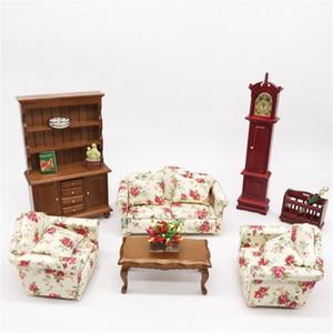 1:12 Dollhouse Miniatura sala de estar bonecas sofá conjunto sofá sofá modelo floral estilo crianças fingir jogar brinquedo y200428