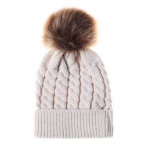 Fashion Kids Twisted Knit Solid Colors Beanies With Pom-pom Ball For 0-2 Years Old Baby Warm Cute Winter Hat