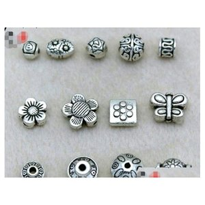 Hot! 100Pcs Tibetan Silver Barrel Spacer Beads Findings Retro Antique Silver Loose Beads Mix Styles Jewelry Accessories Jghqi