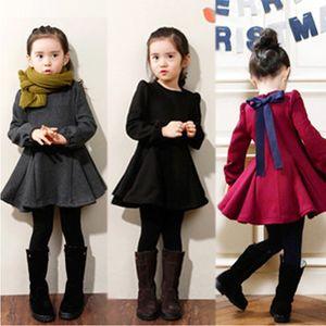 New Girls Thick cotton Solid Dress For Girls Ruffle Dresses Autumn Winter Kids Girl Wild Warm Dress Children Clothing One piece Z1127