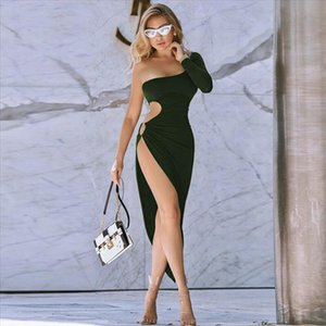 Sexy Women One Shoulder Long Sleeve Side Hole Hollow out High Split Slit Evening Party Clubwear Stretch Dress