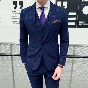 Mens Suits Designers 2019 Bee Embroidery Costume Homme 3 Piece Formal Dinner Dress Gentleman Elegant Suit Blue Vestito Uomo1