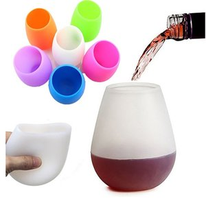 Hot silicone wine glass colored stemless silicone cup unbreakable soft egg shape red wine glasses 400ml drinkware YHM42-1