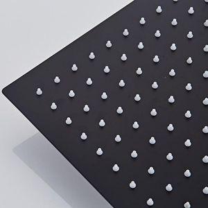 Langyo carré noir pluie en acier inoxydable Pomme de douche Ultrathin 2 mm 8 9 10 12 pouces Choix Bathroom Wall monté au plafond sqceNa home_hot