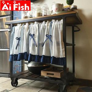Mediterranean Country Pastoral Linen Yarn Stripe Bow Half Curtain Student Cabinet Dust Curtains Kitchen Door Partition QT044#3