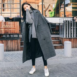Long Wool Blends Women Chic Plaid Retro Harajuku All-match Korean Classic Lady Outwear Thick Winter Double Breasted Girl Jacket