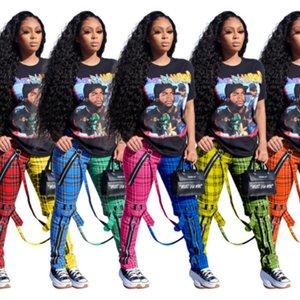 النساء السراويل مصمم الملابس 2021 منقوشة حزام طماق عارضة جديد الخريف الربيع شعرية سستة حزام الديكور بنطلون 807-1