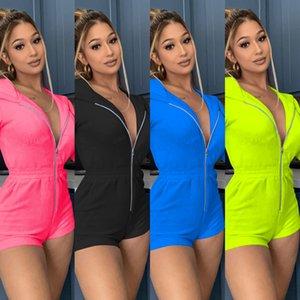 Short Jumpsuit Women Fall Clothing 2020 Streetwear Long Sleeve Zipper Hoodie Casual Rompers Womens Jumpsuit Playsuit