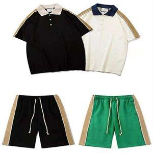 21 männer sommer anzüge casual polos outfits klassische shorts männer hosen sommer neue ankunft mode trainingsanzüge männer zwei stücke anzüge