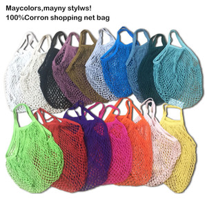 Shopping Bags Mesh Net Handbags Shopper Tote Vegetable Fruits Grocery Bags String Reusable Storage Bags Organizer 30pcs T1I3093