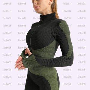 Vêtements de yoga sans soudure 2-3 pièces Ensemble Femmes courir sur piste et champ de sport Sportswear HIPS Fitness Yoga Pants + Sports Bra + Zipper Top1