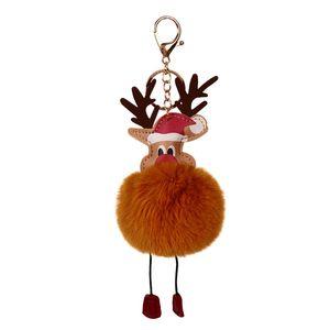 New Plush Elk Pendants Keyring Keychain Reindeer Fur Ball Doll Keychain Xmas Ornaments Party Favors Christmas New Year