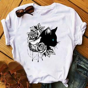 Women 2020 Cat Lover Cool Flower Animal Print Pet Lady Clothing Ladies Graphic Female Womens Top T Shirt T shirts Tee Shirt