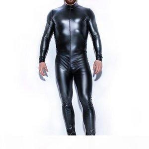 Men PU Catsuit Sexy Lingerie Faux Leather Sheath Slim Front Zipper Crotch Bodysuit Fetish Costumes Erotic Lingerie Plus Size