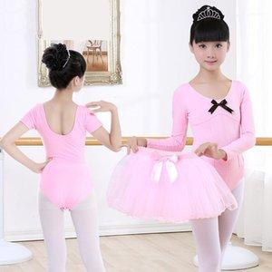 핑크 긴 소매 발레 댄스 훈련 leotard 여자 체조 Pleated Leotard 댄스 의류 아이들 어린이 발레리나 코스튬 1