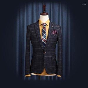 Abbigliamento da uomo 2020 Blazer Uomini Vestito Cappotto Blu Gein Giacca Verde Slim Fit Gentlemen Casual Plaid Suits per Wedding Groom TuteSterwear1