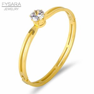 Fysara Charming Single Karat Crystal Bangles Stainless Steel Bracelets For Women Rose Gold Color Lover Bangles Jewelry sqcaiv