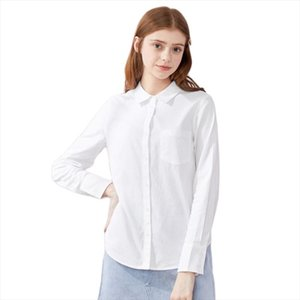 2020 spring new long sleeve blouse women cotton shirts lapel pocket cotton tops shirts woman clothes