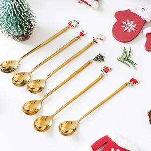 Metal Feliz Navidad Cucharas Año Nuevo 2021 Fiesta de Navidad Adornos de vajilla de Navidad Decoraciones navideñas para la mesa de inicio Navidad Noel Regalo HH9-3684