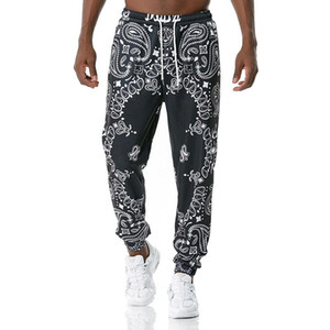 Mens Black Paisley Print Sweatpants 2020 Harajuku Joggers Pants Sports Trousers Men Streetwear Casual Pantalones Hombre