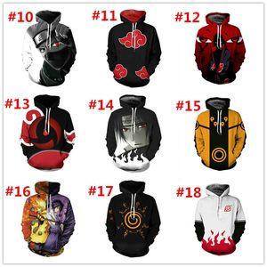 Designer Mens Maglioni Popular Naruto Series Sasuku 3D Hoodie Digital Printing Pullover Felpa con cappuccio o cardigan Cosplay Plus Size S-5XL