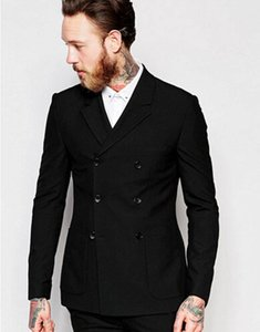 New Black Double Breasted Men's Formal Business Suits Groom Tuxedos Jacket+Pants Prom Custom Made Suits A0129
