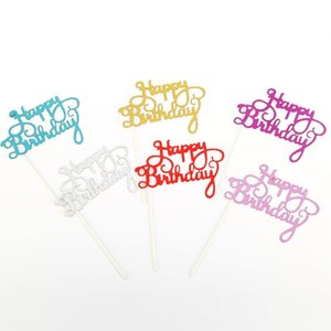 Gold Silver Glitter Happy Birthday Party Cake toppers decoration for kids birthday party favors Baby Shower Decoration Supplies GWD3077