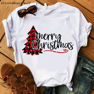 Christmas shirt clothes merry christmas tshirt women plaid fashion white t-shirt female streetwear casual summer vogue tops