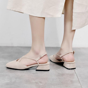 Big Size 11 12 high heels sandals women shoes woman summer ladies Cross strap with thick heel for Baotou sandals