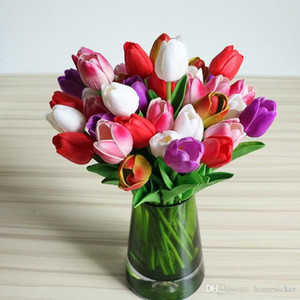 50PCS Latex Tulips Artificial PU Flower bouquet Real touch flowers For Home decoration Wedding Decorative Flowers
