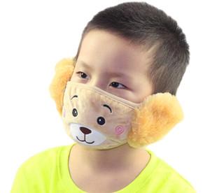 Мода зима новых детей мультфильм медведь уш ушной муфт дети флис сгущает теплое маска уха муфцы мальчики девушки плюшевые маски A5311