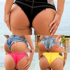 2020 Новые летние женщины сексуальные низкие талии дыры кисточки джинсовые шорты пляжные джинсы шорты Clubwear S M L XL Y1217