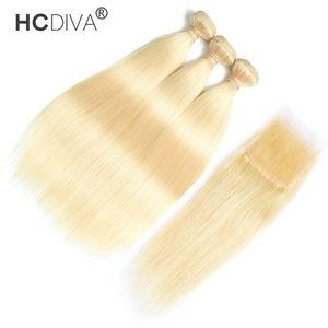 Cabelo virgem peruano em linha reta / kinky encaracolado com fecho de renda com cabelo bebê brasileiro 613 cabelo loiro 3 pacotes com 4 * 4 fechamento