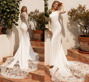 Setwell Jewel Neck Mermaid Wedding Dresses Long Sleeves Illusion Backless Lace Appliques Floor Length White Bridal Gowns