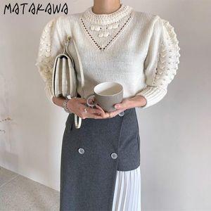 Matakawa francés elegante mujer suéteres coreano chic redondo cuello redondo tridimensional soff manga suéter de manga larga jerseys