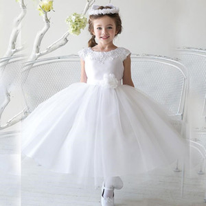 vintage Flower Girl Dresses with Flower Sashes Party Pageant Communion Dress for Wedding Little Girls Kids Children Dress