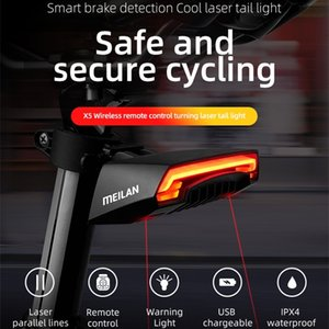 Meilan X5 Wireless Bike Bicycle Rear Light Laser Tail Lamp Smart USB Rechargeable Cycling Accessories Giyo r1 Remote Turn Led 201125