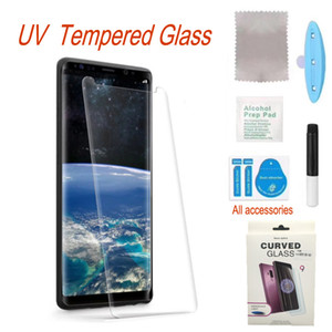 Full Screen Protector Finger Unlock UV Glue Tempered Glass For Samsung Galaxy note20 ultra s20 10plus s10 s9 s8 Cellphones Shockproof