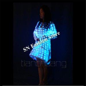 TC-117 LED Light Coloré Ballroom Ballroom AD Femmes Robe De Danse Costumes DJ Bar Stateau Stage Sexy Wear Permet de vêtements programmables