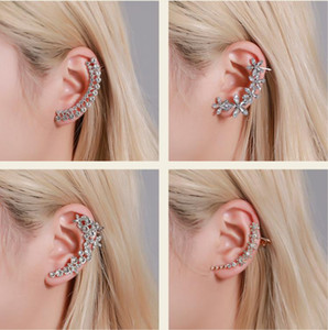 New Cubic Zirconia Crystal Ear Cuff Rhinestone Flower Stud Earrings Accessories for Women Girl Wedding Party Jewelry Gifts