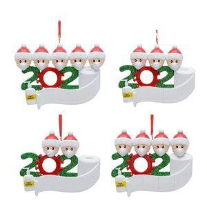 Resin Christmas Ornament Greetings Quarantine Christmas Birthday Party Pandemic Social Distancing Christmas Tree Pendant Accessories BEC3995
