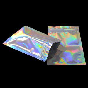 100 pezzi glitter sigillo calore foglio di alluminio con ziplock sacchetti con zip con zip serratura a zip al dettaglio sacchetto di pacchetto di plastica spedizione gratuita