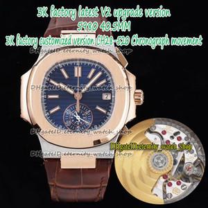 Eternity 3kf V2 Version Version CH28-520C Chronographe Automatique Bleu Cadran Deux Ton Ton Rose Gold Case 5980 Montres Hommes Montres En Cuir Sport Montres Sport