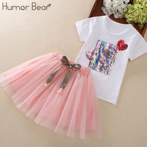 Humour Bear Girl Tops + Pantalons 3-7Y Baby Girls Vêtements Vêtements Été Marque Séquin Design Filles Vêtements Ensembles de vêtements bébé Y200829