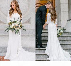 Vintage Böhmische Brautkleider mit 3 4 langen Ärmeln Spitze V-Ausschnitt Brautkleider 2017 Land Brautkleid
